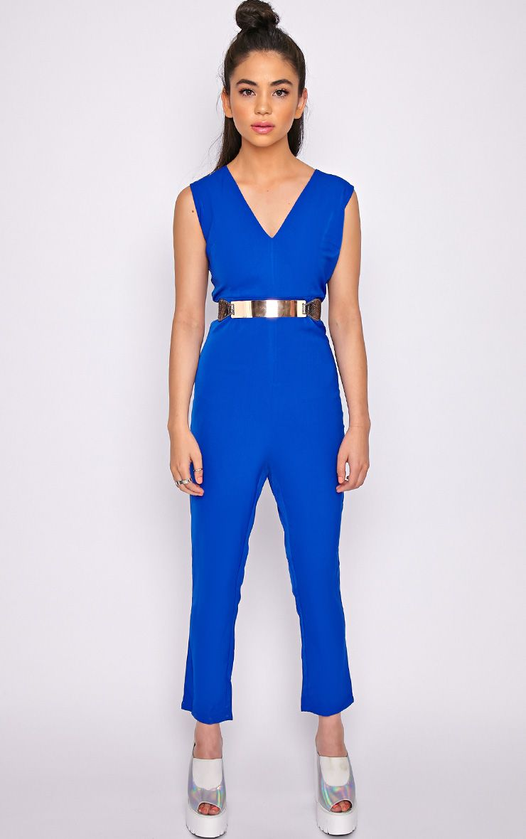 Skye Cobalt V Front Tailored Jumpsuit  1
