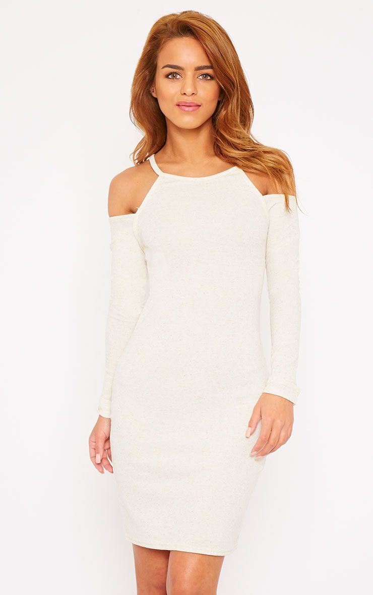Geri Cream Ribbed Cut Out Shoulder Mini Dress 1