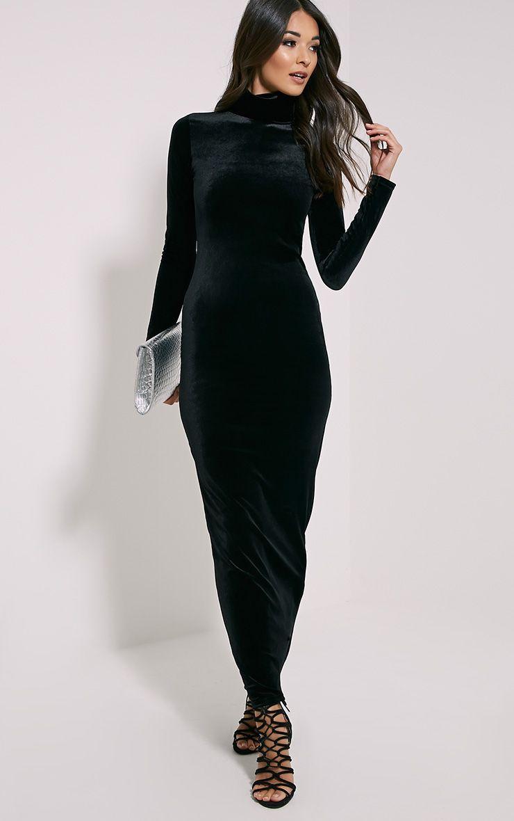 Cindy Black Turtle Neck Velvet Maxi Dress 1