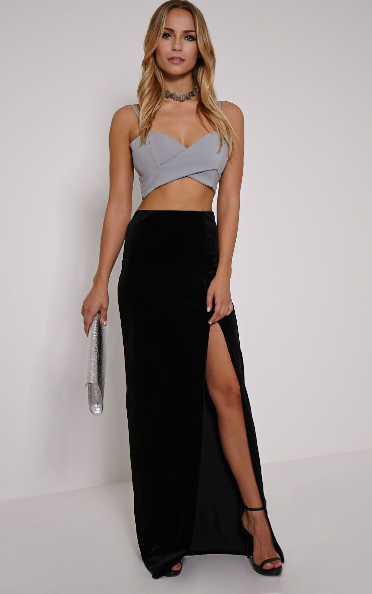 Caitlin Black Velvet Side Split Maxi Skirt 1