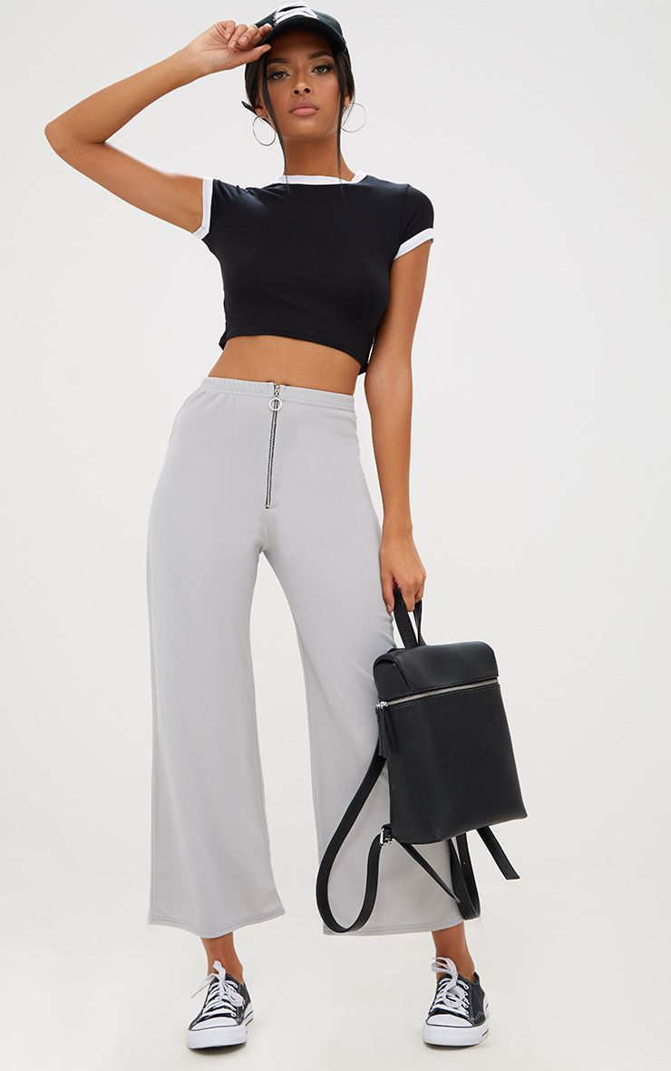 Grey Ring Zip Culottes
