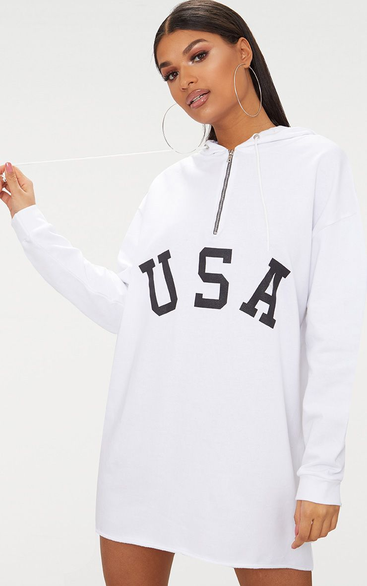 WHITE USA ZIP HOODED SWEATER DRESS