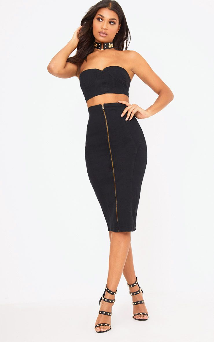 Saia Black Denim Zip Detail Midi Skirt