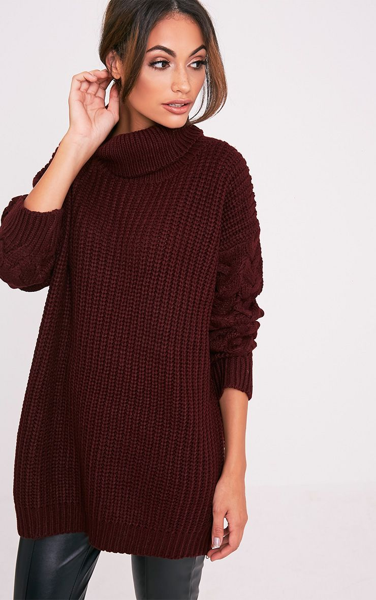 Finolla Burgundy Oversized Cable Knit Sleeve Jumper 1