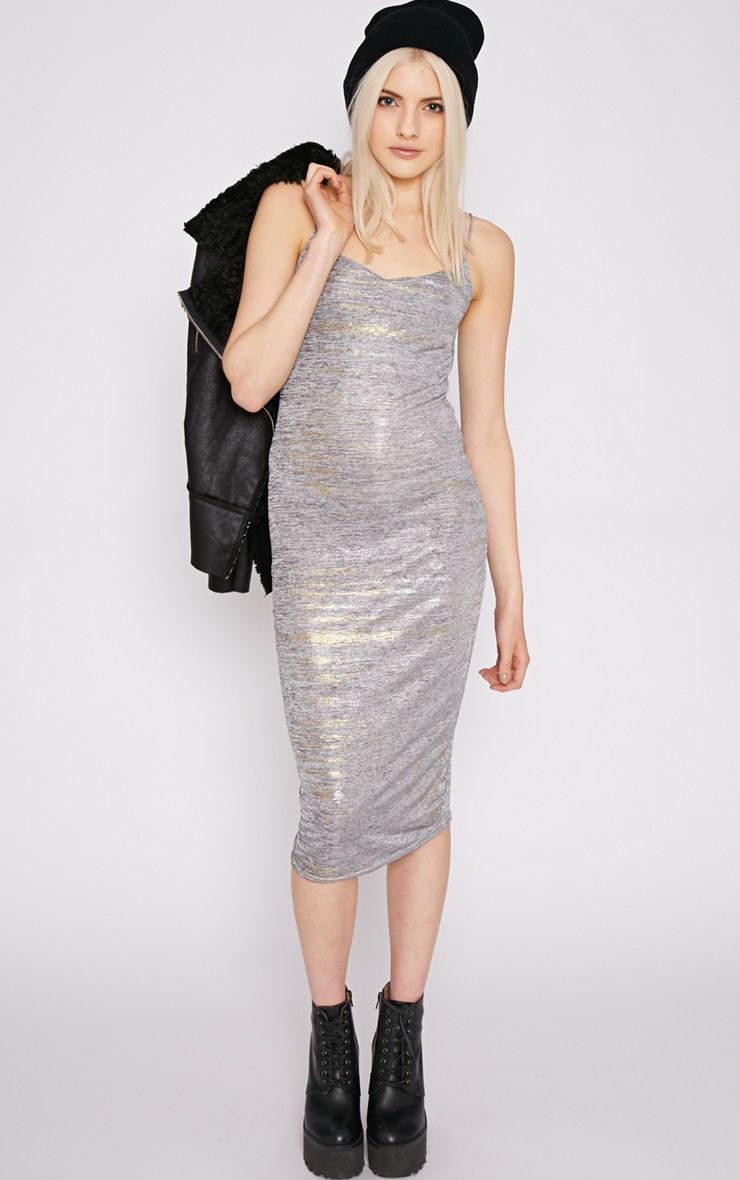Lucia Metallic Foil Midi Dress 1