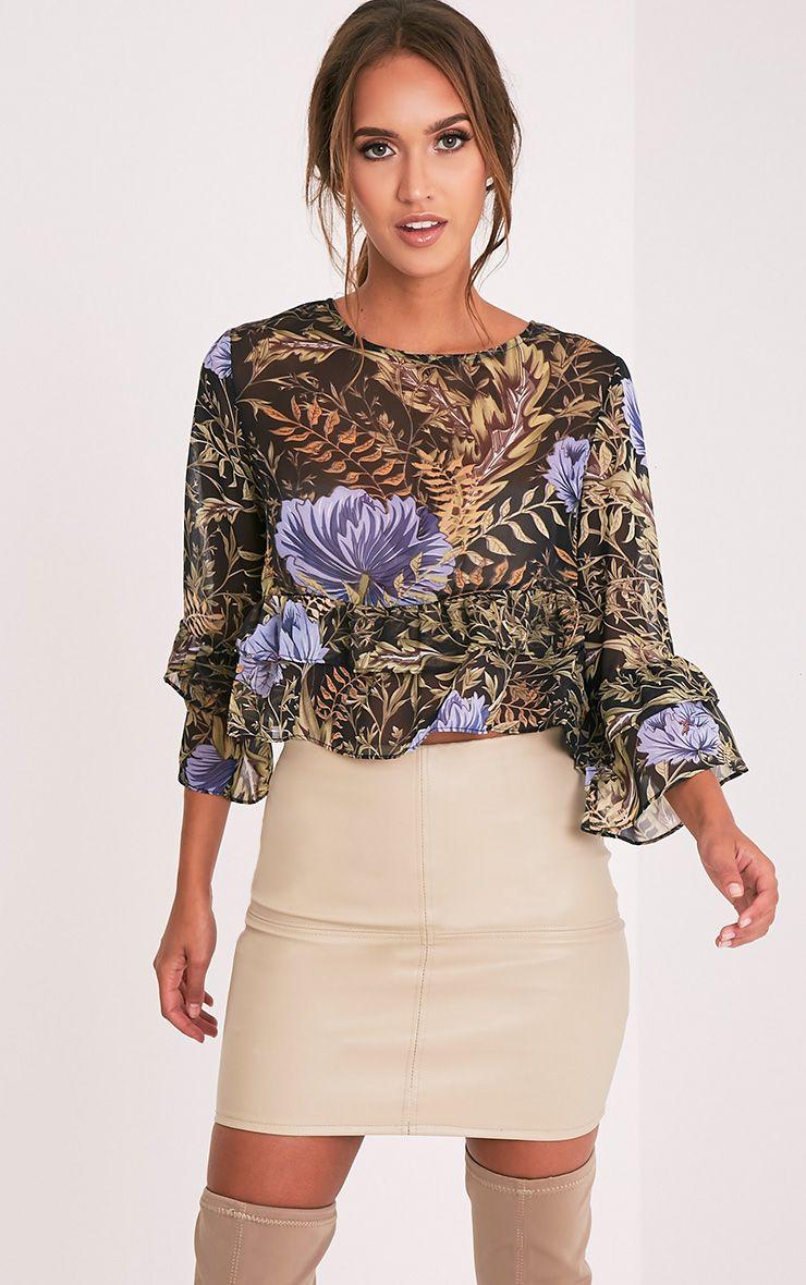 Leyda Black Floral Print Ruffle Blouse