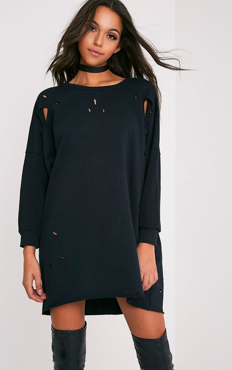 Emilia Black Distressed Raw Edge Sweater Dress