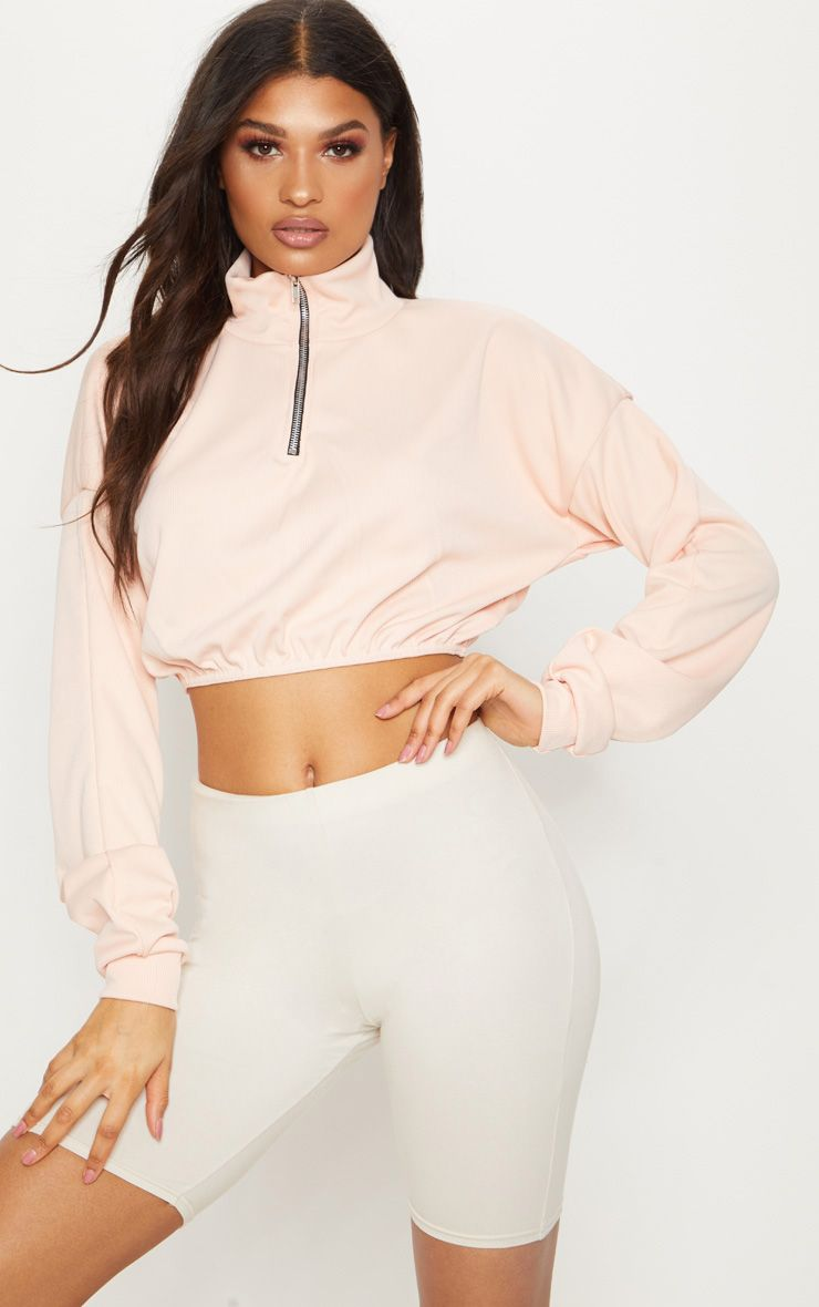 Peach Rib Zip Front Long Sleeve Sweater