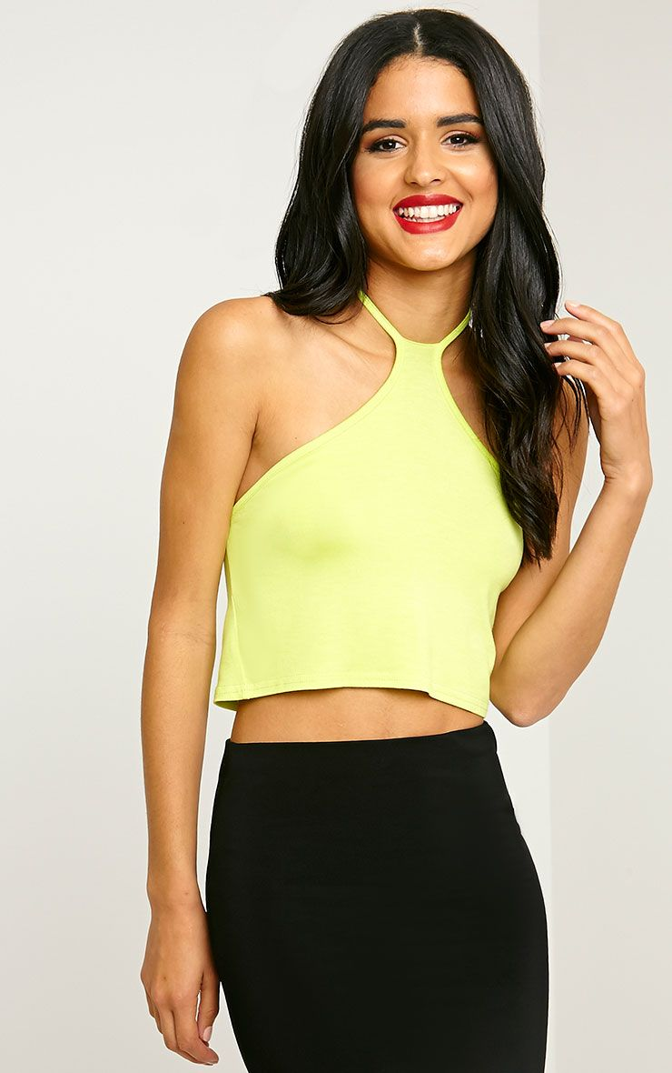 Tamarra Lime Halterneck Crop Top 1