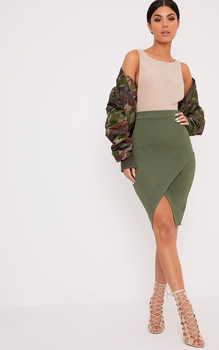 Aislynn Khaki Wrap Midi Skirt