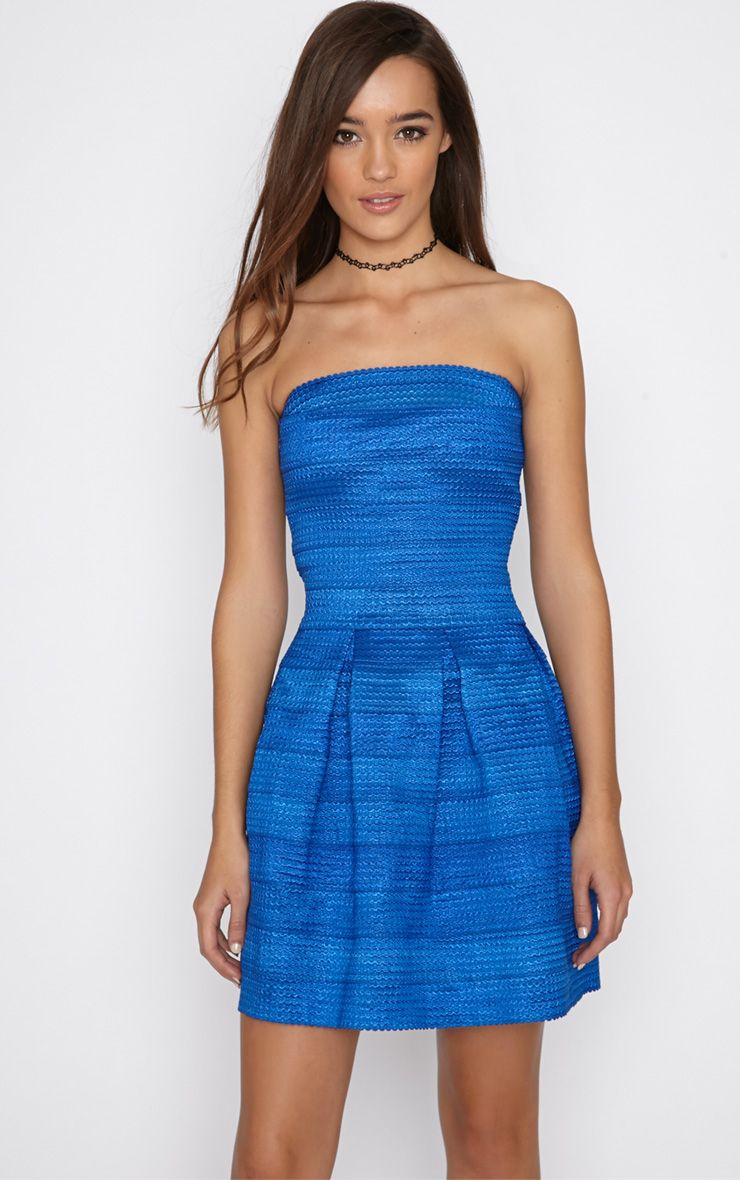 Dolly Cobalt Structured Bandage Skater Dress 1