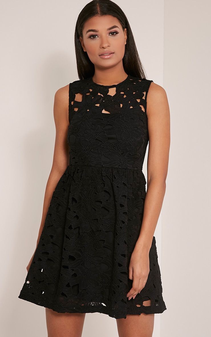 Antonia Black Crochet Lace Skater Prom Dress