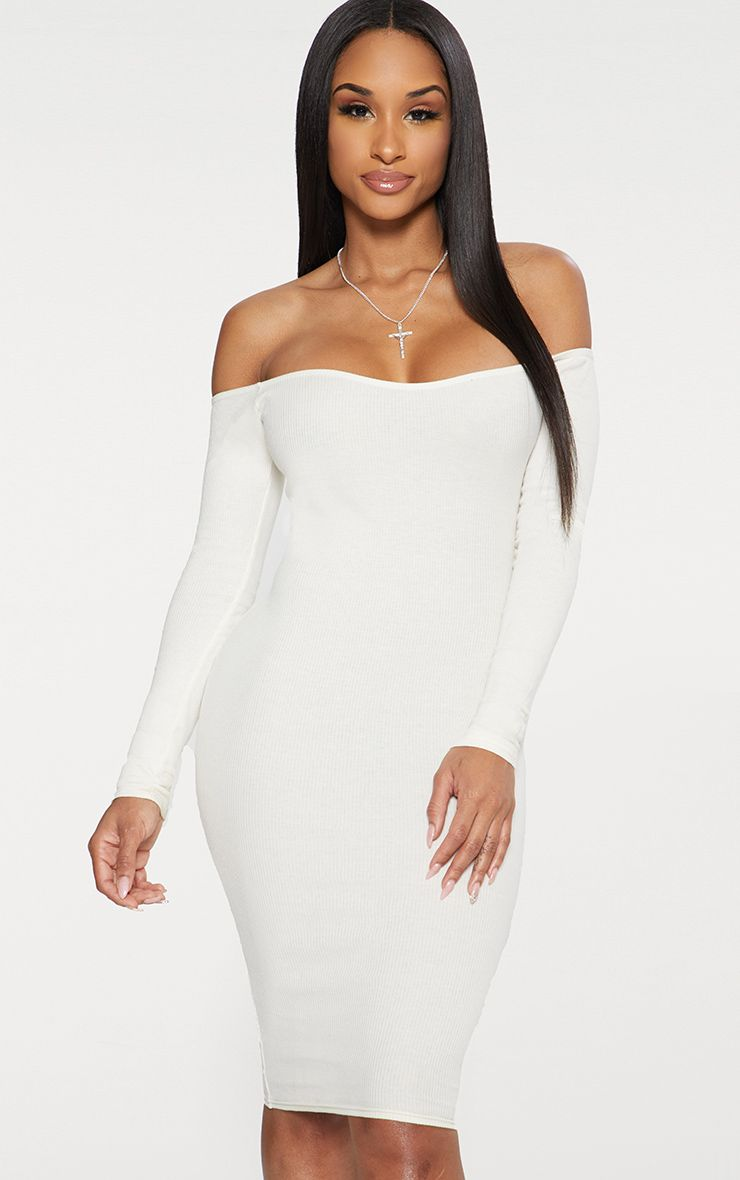 Cream Second Skin Bardot Ribbed Long Sleeve Midi Dress