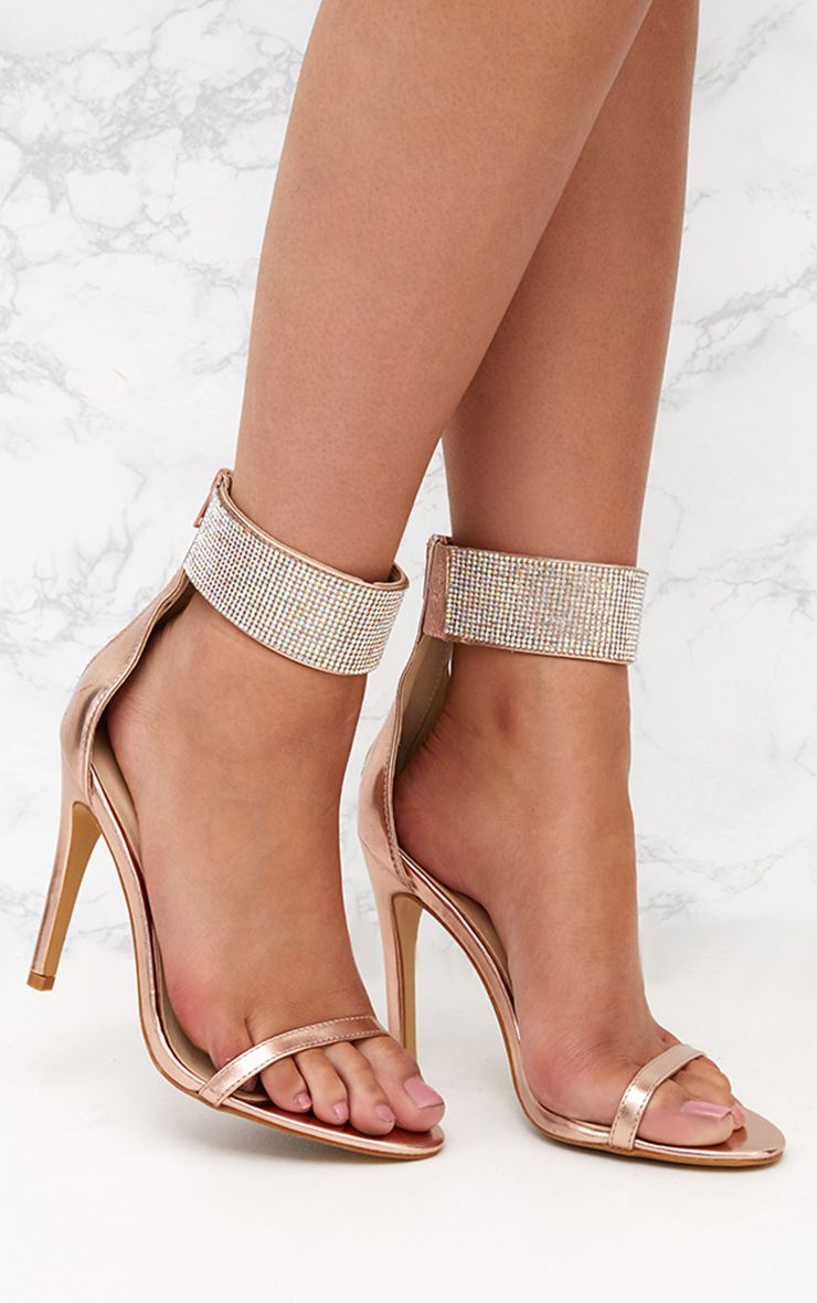 Rose Gold Diamante Cuff Heeled Sandals