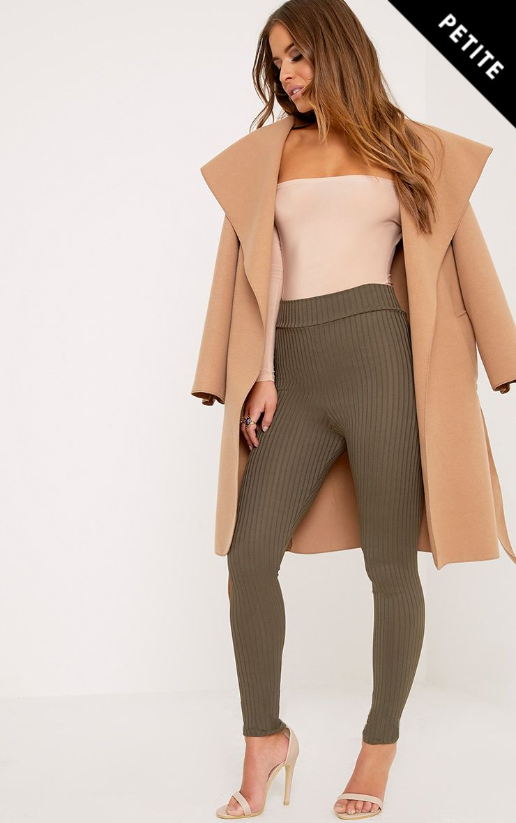 Petite Harlie Khaki High Waisted Ribbed Leggings