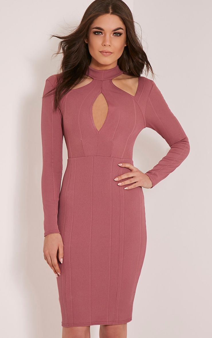 Stephanie Rose Long Sleeve Cut Out Bandage Dress 1