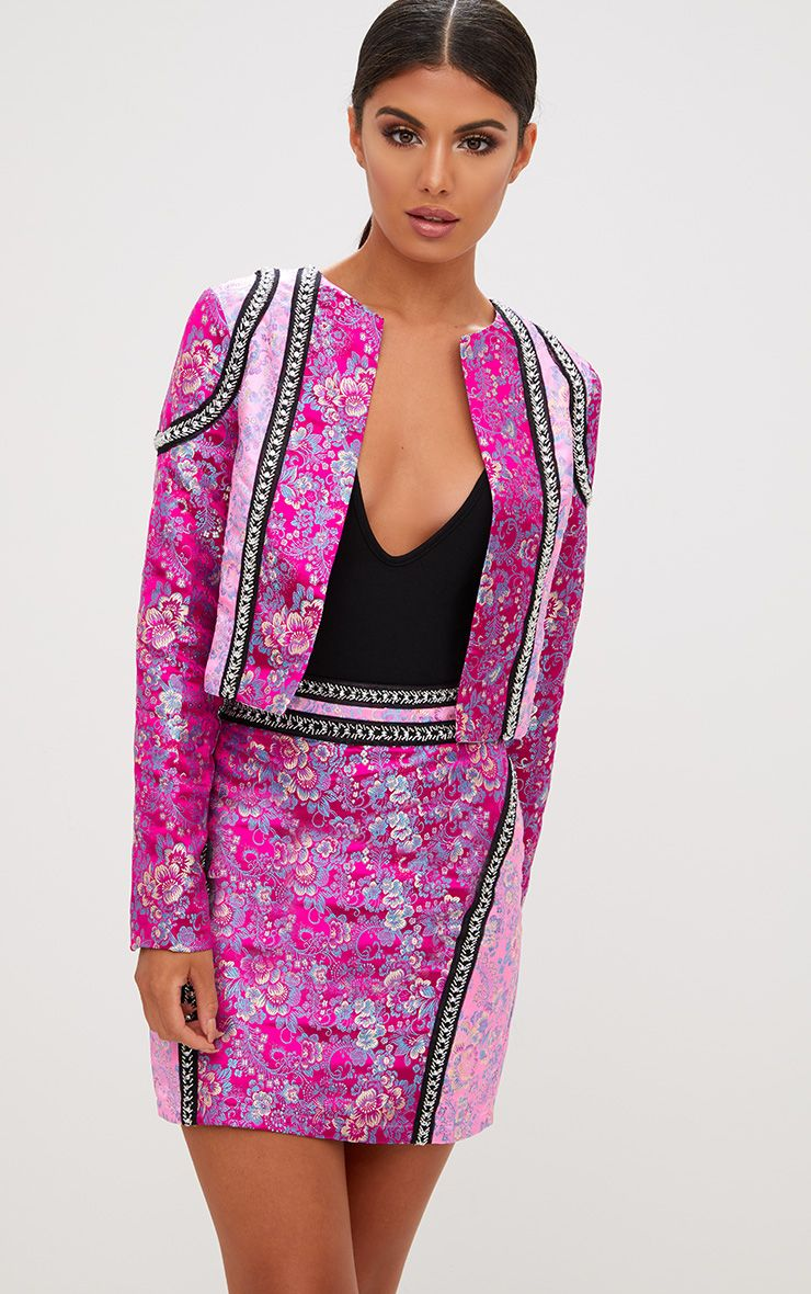 Premium Pink Contrast Jacquard Cropped Jacket