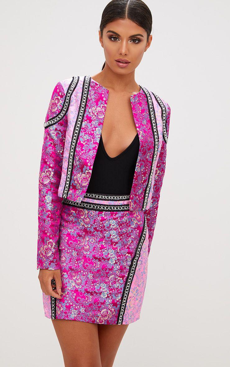Premium Pink Contrast Jacquard Cropped Jacket