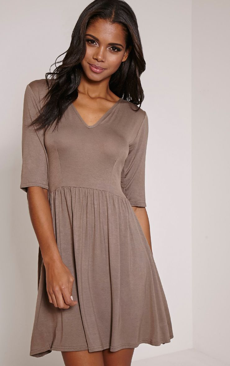 Basic Mocha 3/4 Sleeve Skater Dress 1
