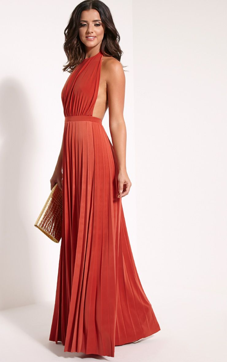Lorelei Rust Halterneck Pleated Maxi Dress 1