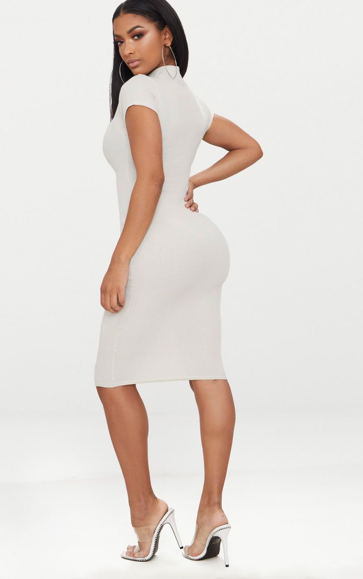 PRETTYLITTLETHING Shape Ribbed High Neck Cap Sleeve Midi Dress Sale Popular 100% Guaranteed Cheap Price New Style The Cheapest Sale Online Cheap Prices Authentic ejyEYBSQ