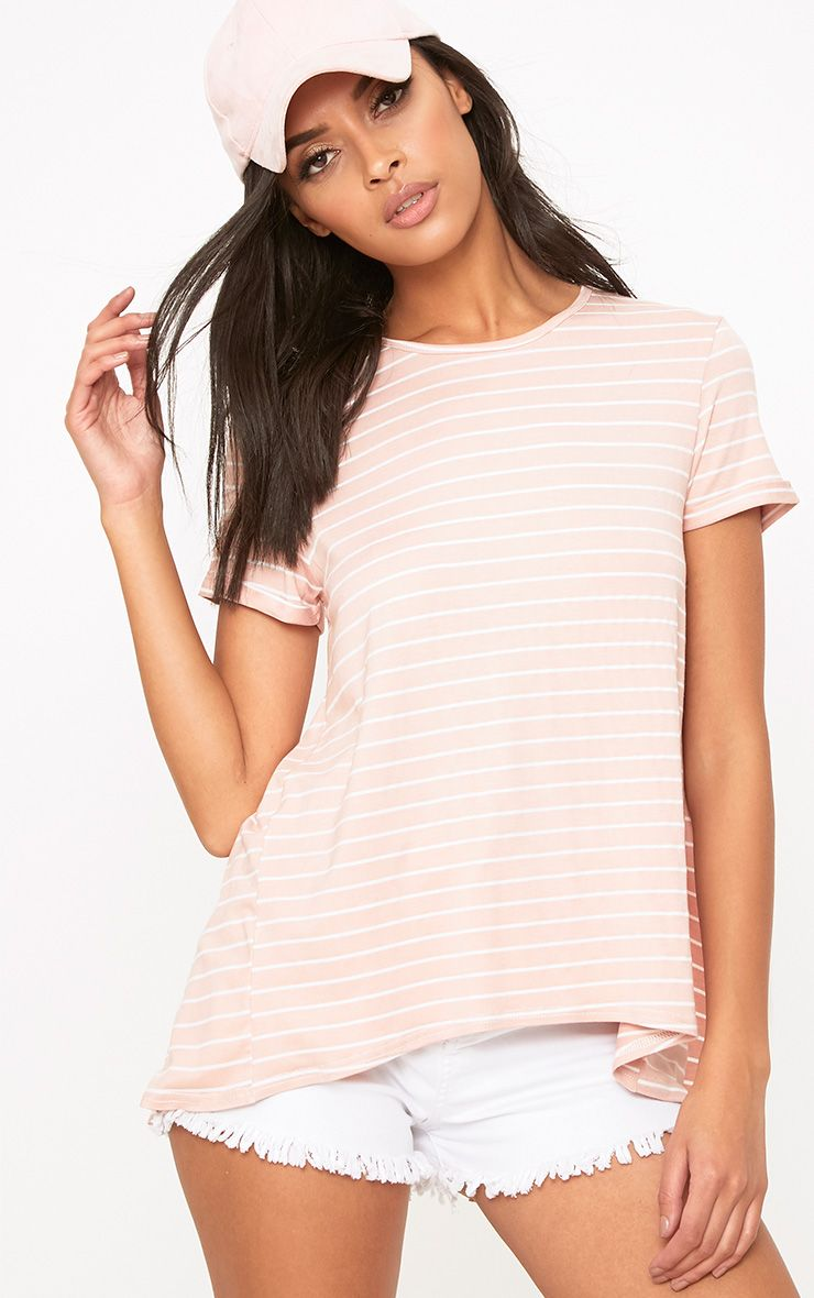 Pink Stripe Open Back T Shirt