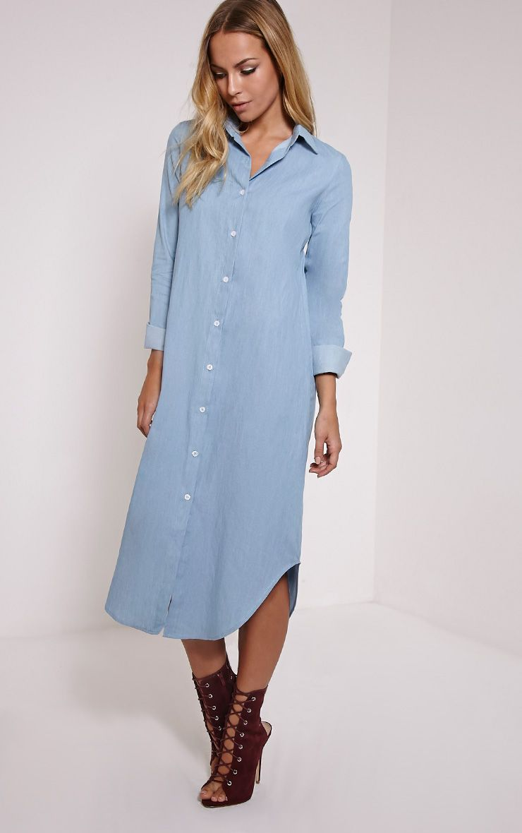 Ania light blue denim maxi shirt dress dresses for Blue dress shirt outfit
