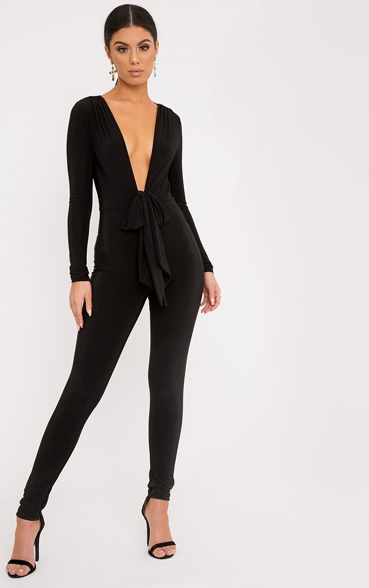 Alessia Black Slinky Knot Front Jumpsuit