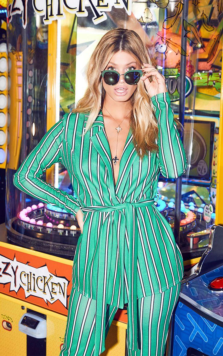 Green Stripe Belted Blazer