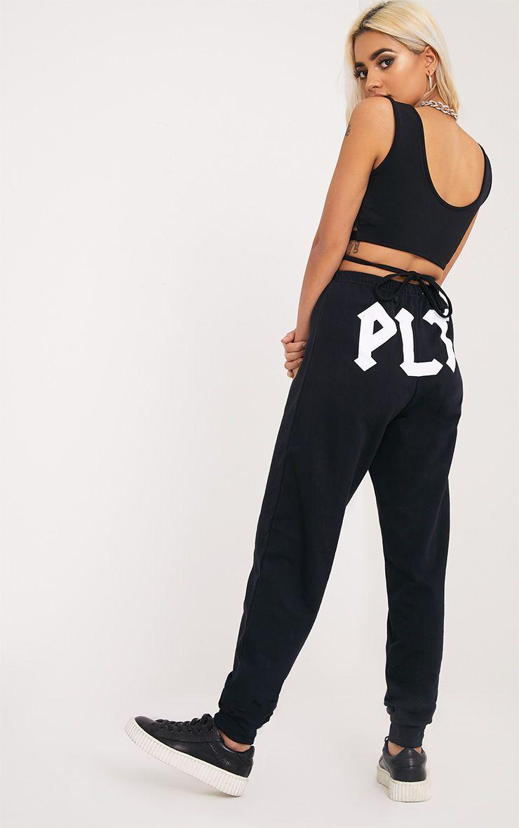 PLT Black Slogan Joggers