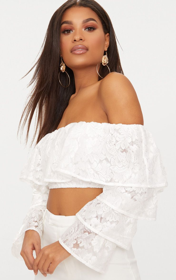 White Tiered Lace Frill Crop Top