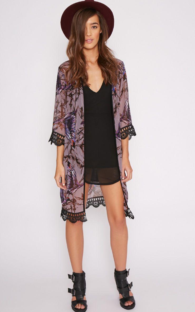 Gigi Purple Print Lace Trim Kimono  1