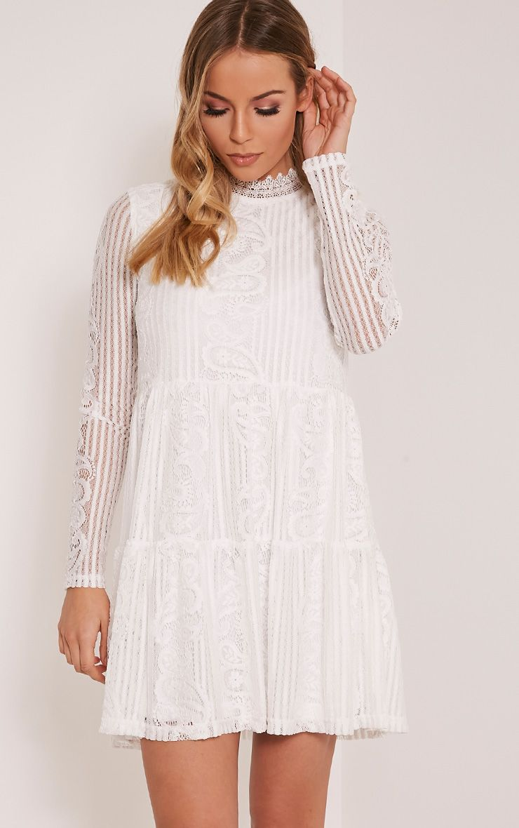 Saffron White High Neck Lace Skater Dress