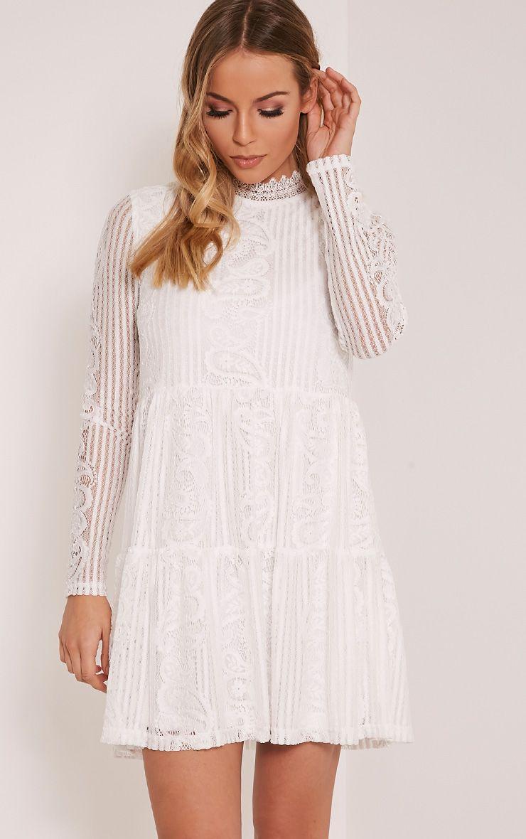 Saffron White High Neck Lace Skater Dress 1