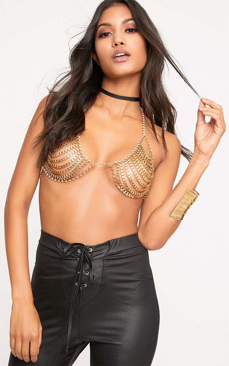 Milana Gold Diamante Chain Bra