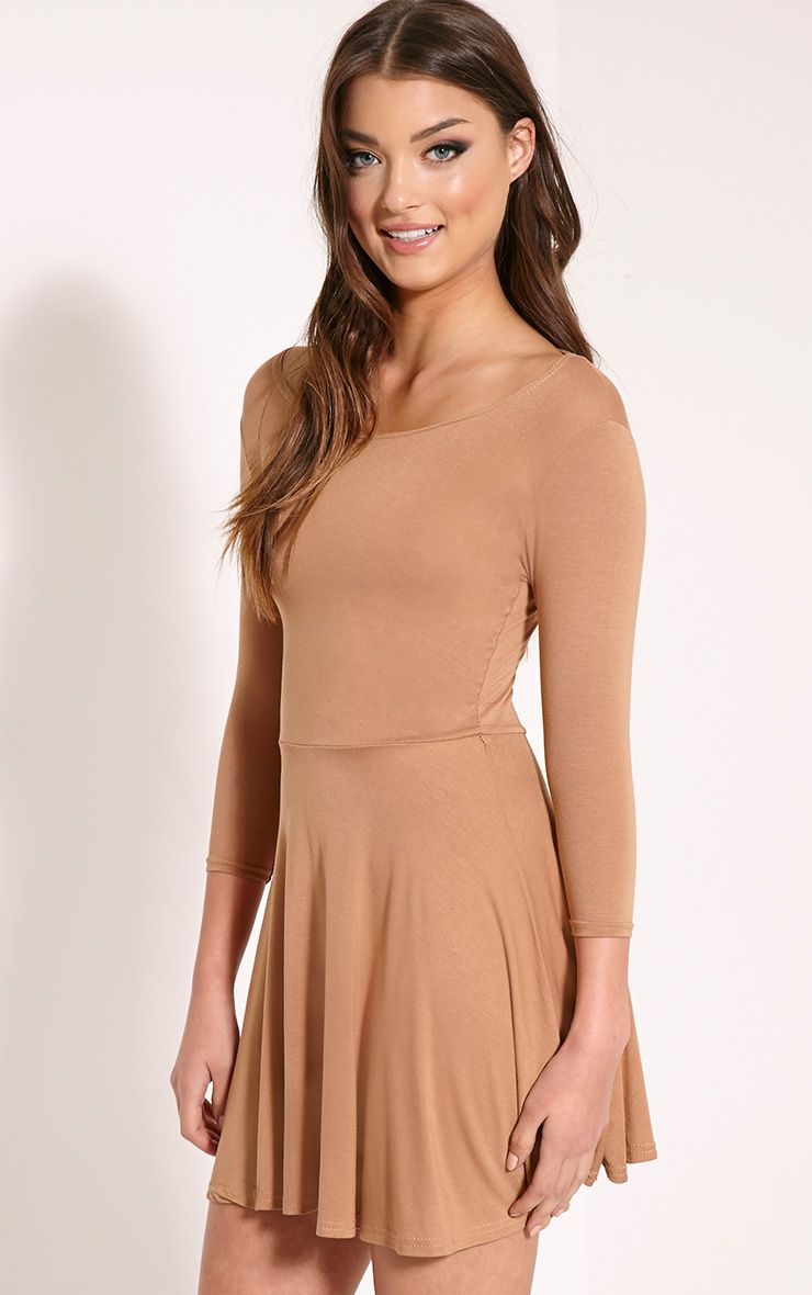 Basic Camel Long Sleeve Jersey Skater Dress 1