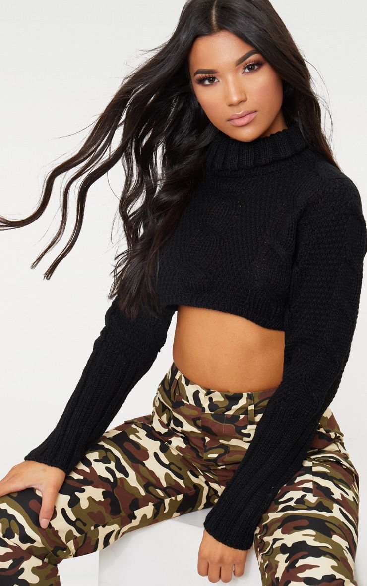 Black Extreme Cropped Roll Neck Jumper