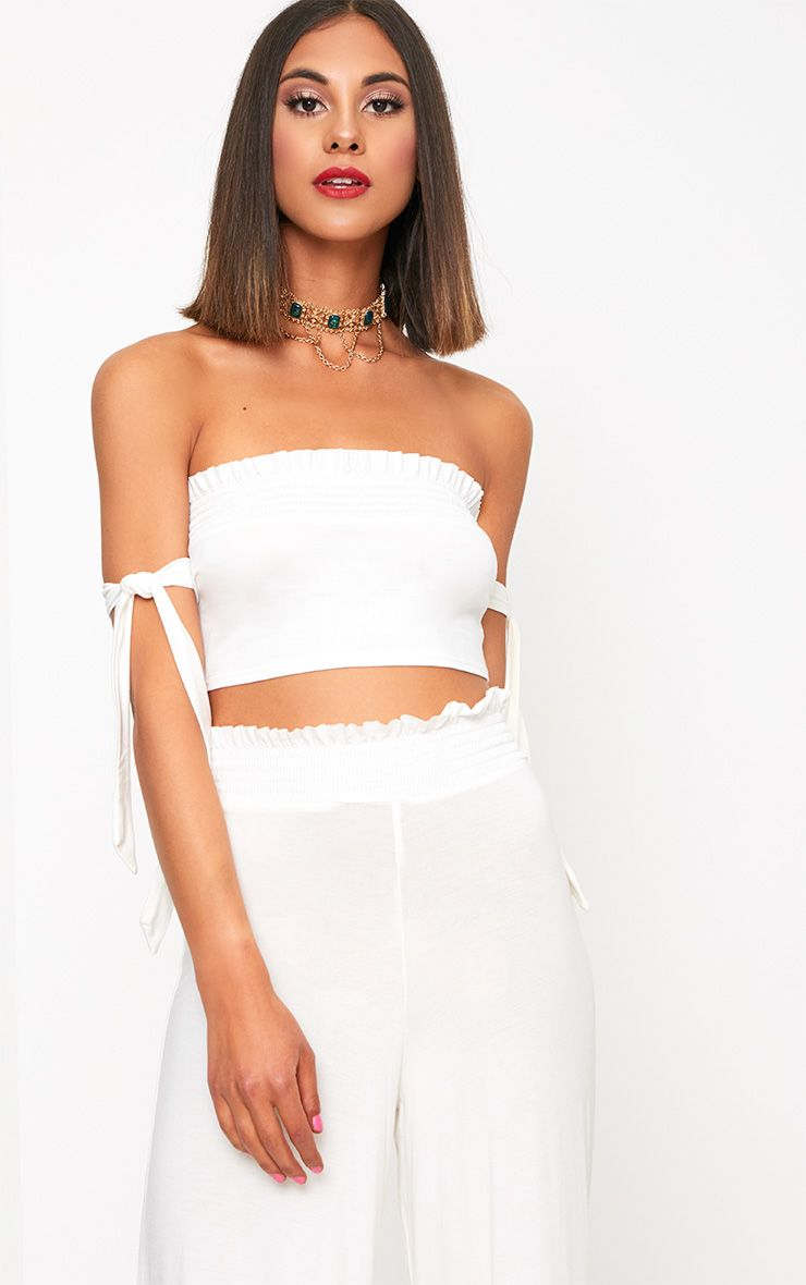 White Shirred Bardot Tie Sleeve Crop Top