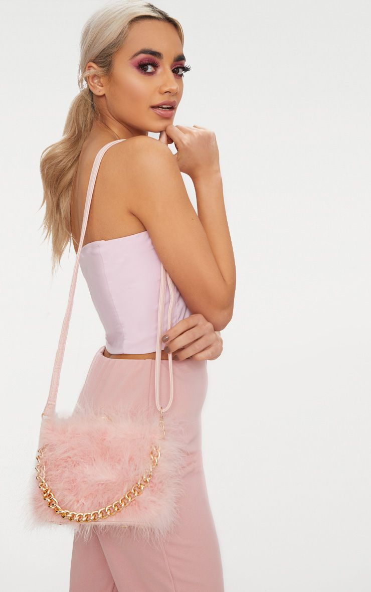 Pink Marabou Feather Clasp Chain Handle Bag