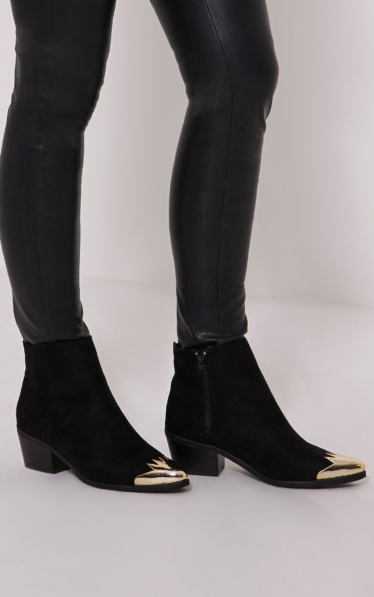 Karrie Black Metallic Detail Faux Suede Ankle Boots 1