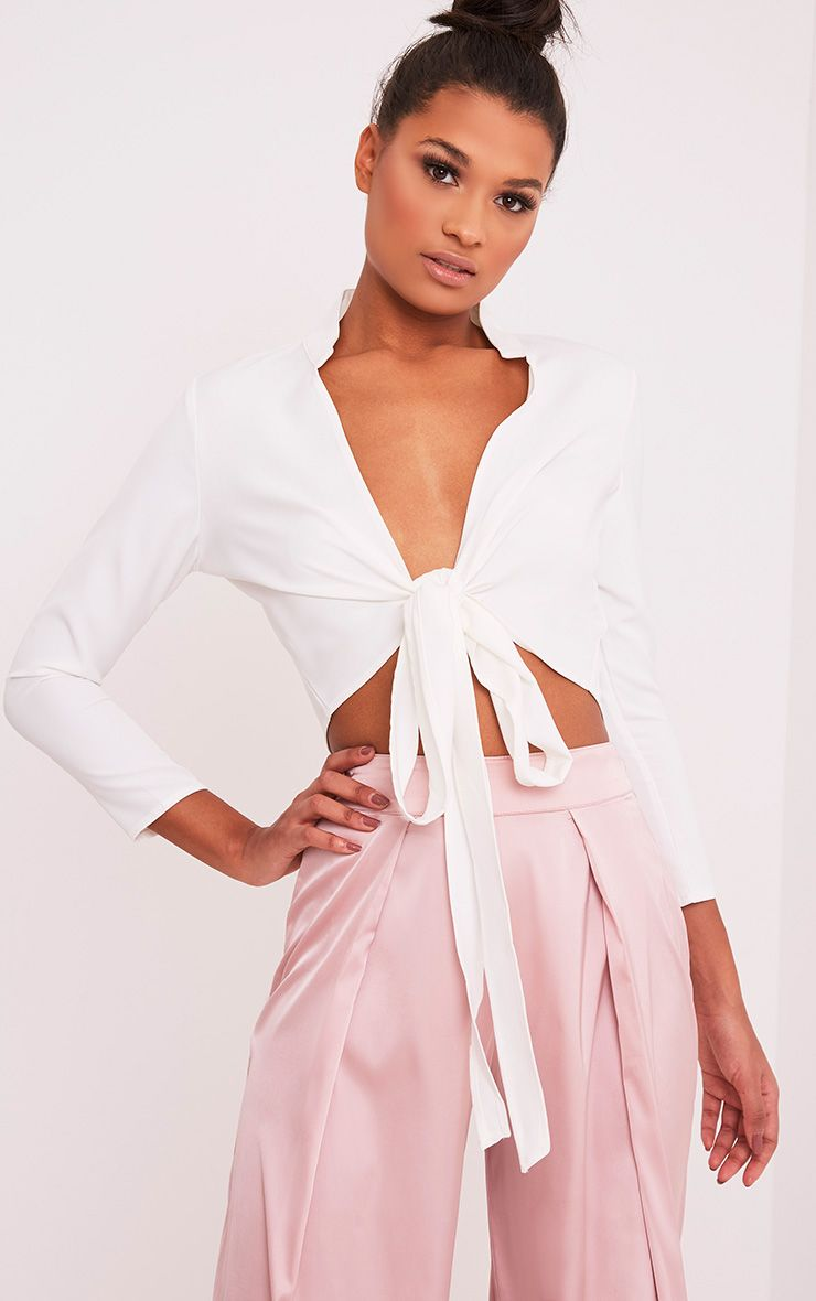 Blanche White Tie Front Long Sleeve Crop Blouse