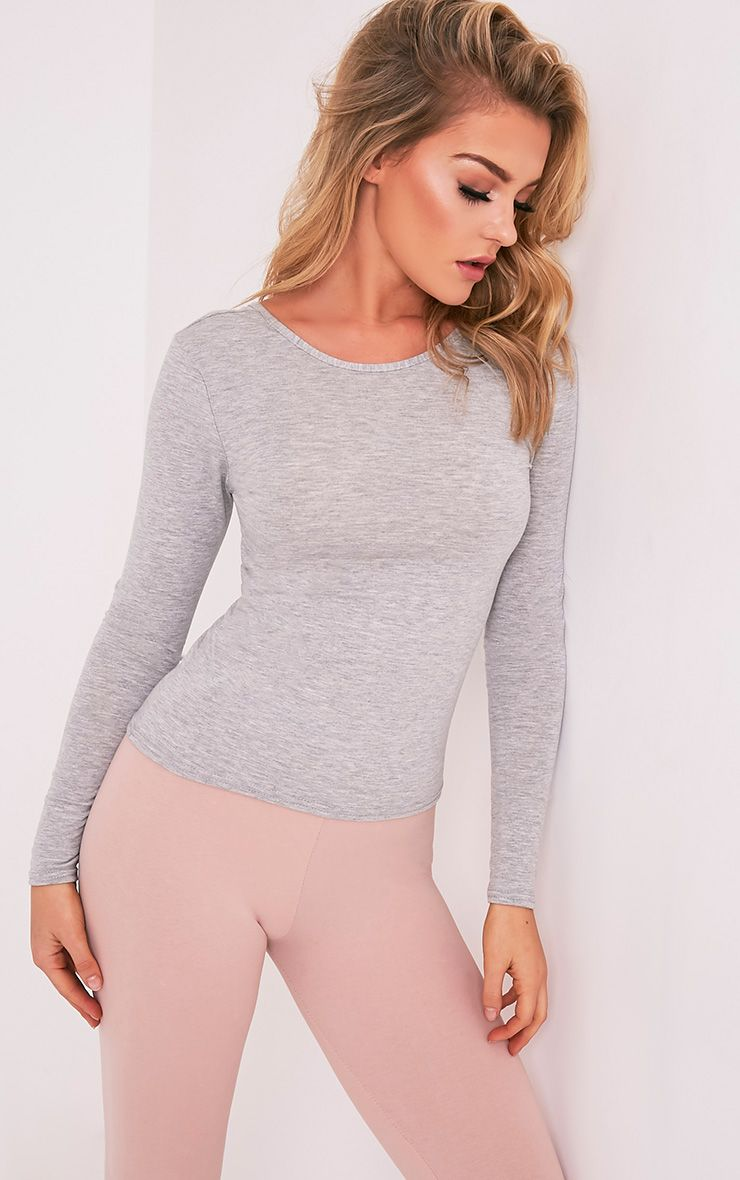 Basic Grey Scoop Neck Longsleeve Top