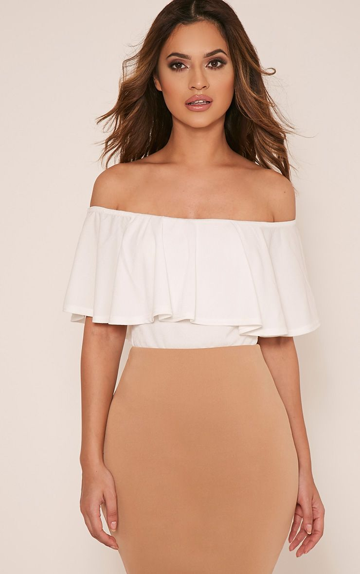 Rebekah Cream Bardot Frill Bodysuit