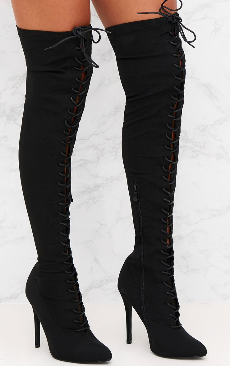 Black Lace Up Stiletto Thigh High Boots