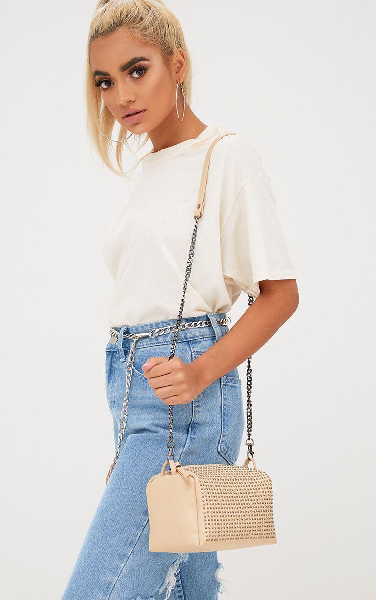 Nude Studded Shoulder Bag