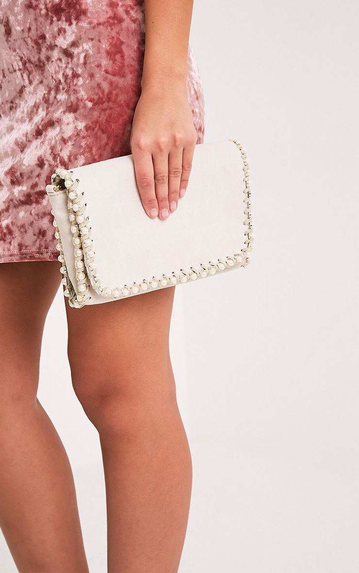 Seiena Cream Pearl Trim Clutch  2