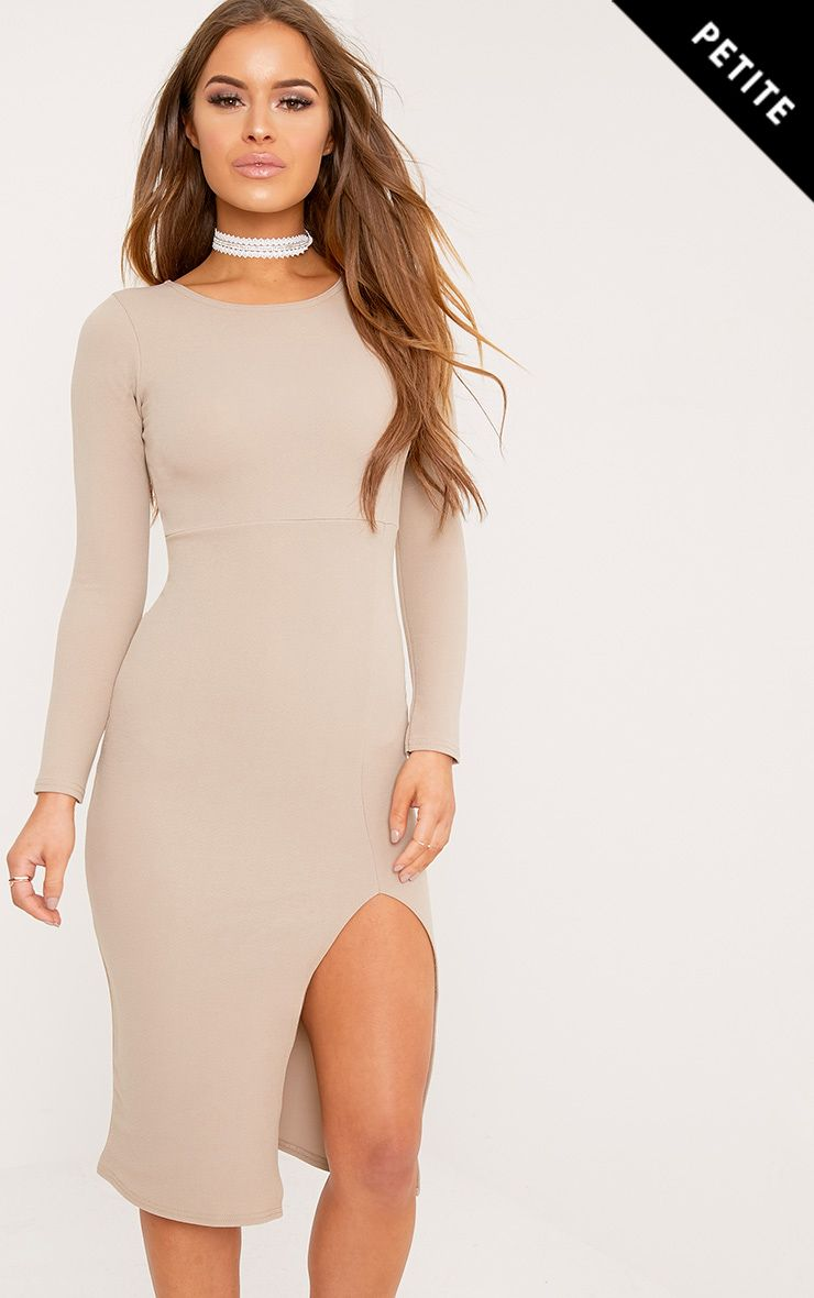 Petite Luz Taupe Split Detail Bodycon Midi Dress
