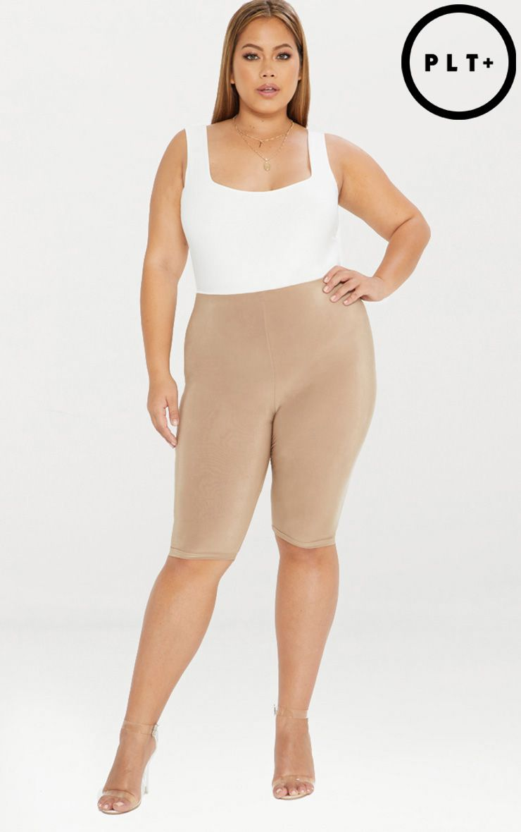 Plus Camel Second Skin Slinky Long Line Cycle Short