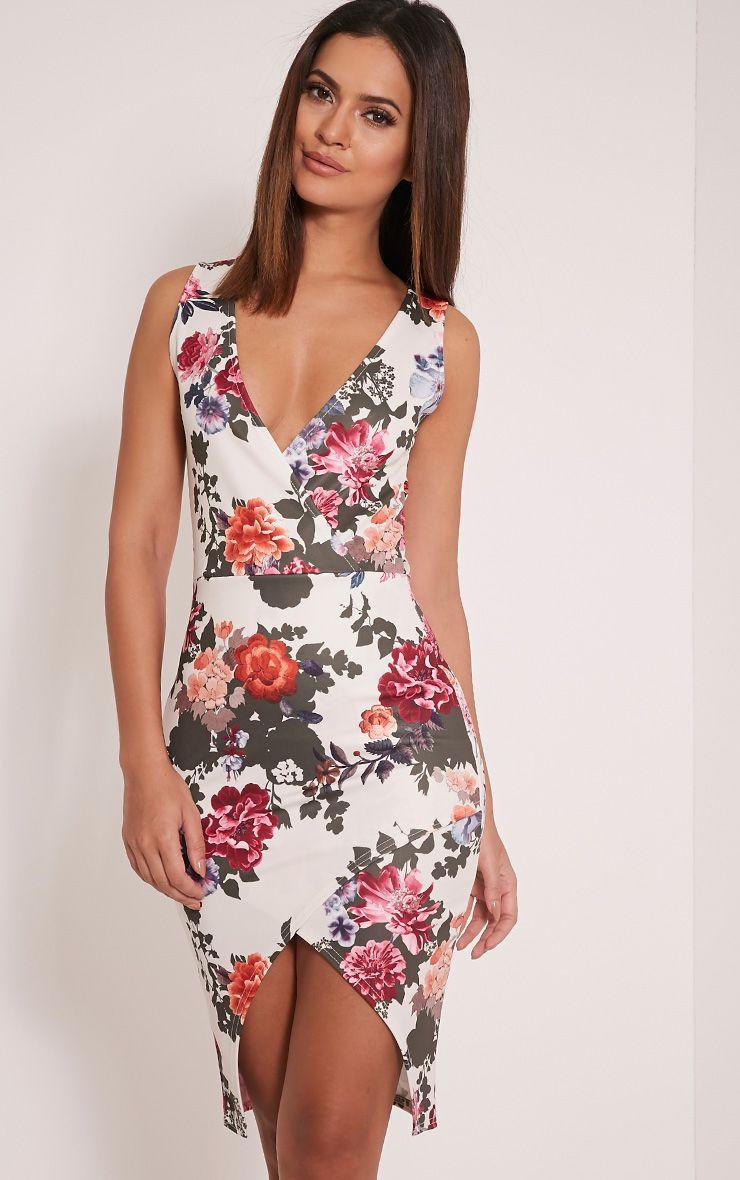 Freeda White Floral Print Wrap Midi Dress 1