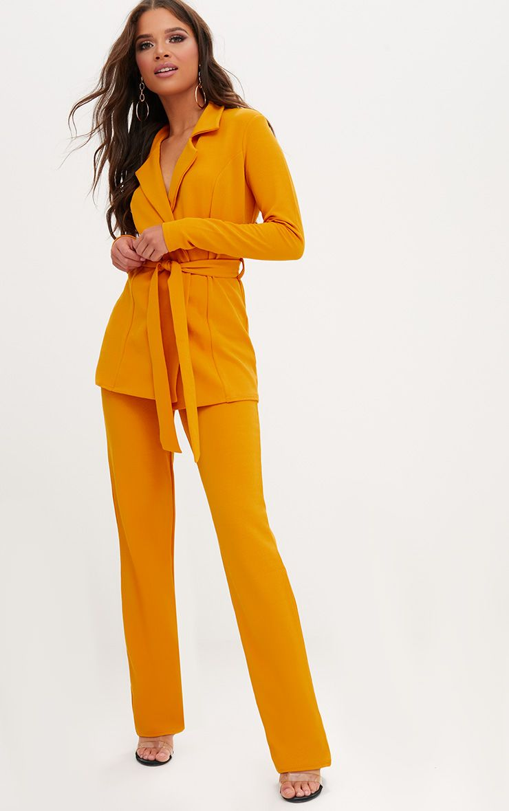 Mustard Straight Leg Suit Trousers